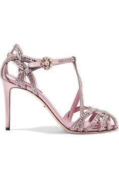 1e6e9f10e51 Dolce   Gabbana - Keira crystal-embellished satin sandals. Pink SandalsPink ShoesHeeled  SandalsWomen s ShoesMonk Strap ShoesStrap SandalsAnkle ...