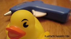 Use a hot glue gun to plug the hole on bathtub toys. No more gross tub toys!