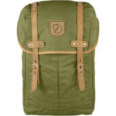 Klassisk ryggsäck i kraftig vaxad väv med detaljer i naturfärgat läder.  Huvudfack har fickor för e1b961d6ecbe0
