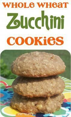 ~~I added cup cocoa omit baking soda and add choco chips~~Whole Wheat Zucchini Cookies Recipe Zucchini Cookie Recipes, Protein Cookie Recipe, Zucchini Cookies, Delicious Cookie Recipes, Protein Cookies, Easy Cake Recipes, Yummy Cookies, Dessert Recipes, Ww Recipes