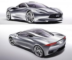 Infiniti Emerg-E This handsome Infiniti Emerg-e electric sports car is set for a March 6 unveiling. It works similarly to the Chevy Volt, with a battery-powered electric motor accompanied by a gasoline-fueled, range-extending engine. Electric Sports Car, E Electric, Electric Motor, Car Signs, Toys For Boys, Boy Toys, Gt Cars, Hot Rides, Custom Cars