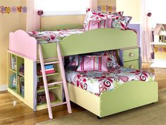 Signature Design by Ashley - 7 Pc Twin Over Twin L Shaped Doll House Loft Bed Set