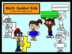 Math Symbol KidsPlease enjoy this free clip art set! If you enjoy it and find it useful please rate it and leave feedback. This set has 6 images (3 colour and 3 black and white). These images are in png formats so they can easily be layered in your projects and lesson materials.
