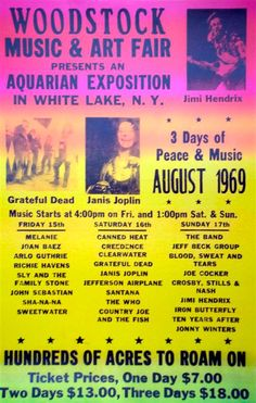 Vintage Vic: Woodstock, 15th August 1969... official poster.