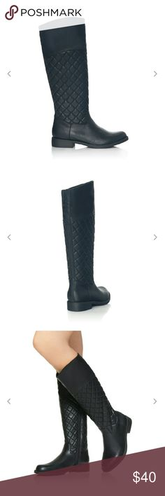 "Quilted Boots Look put together in any outfit with these vegan leather quilted boots in black. Knee high. Side zipper closure. Small hidden elastic gives calf a little stretch. Very comfy 1"" heel. Calf circumference 15""  True to size.  **Worn twice, excellent condition! JustFab Shoes"