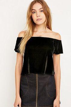 Pins & Needles Black Velvet Bardot Top - Urban Outfitters