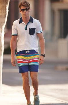 Fun! Striped boardshorts.