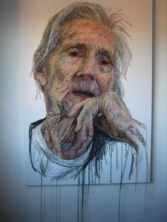 'The Dementia Darnings', portrait series started in 2011 by artist Jenni Dutton, daughter/ carer for her mother #womensart