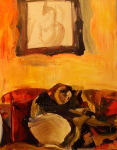 "Saatchi Art Artist: Jessie Cunningham-Reid; Oil 2011 Painting ""Self Portrait in London 2011"""