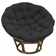 Large Black 44 Inch Twill Papasan Round Lounge Chair Seat Cushion Pillow for Maximum Comfort Color: Black. Materials: 55-percent cotton, 45-percent polyester; Fill: Polyester. Weather resistant: No. Dimensions: 44.5 inches wide x 44.5 inches long x 6.1 inches high. This Size will fit a 42 Diameter Papasan Bowl.. Weight: 9 pounds.  #Blazing_Needles #Home