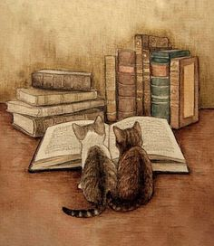 Two sweet little kittens reading a book in this adorable illustration print