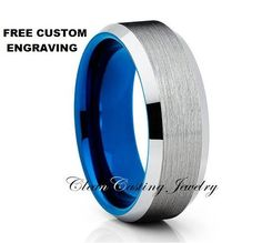 Brushed Tungsten Wedding Band,Tungsten Wedding Ring,Tungsten Carbide,Blue…