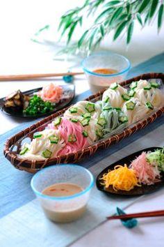 """""""Sesame sauce vermicelli"""" たれをアレンジ! ピリ辛ごまだれそうめん/ごまだれの七夕そうめん Tanabata Somen Lunch with Okra"""