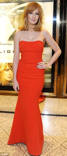 Looking hot: Kelly Reilly looked stunning in a red strapless dress at the London premiere of Flight