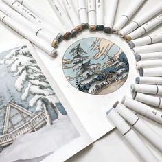 Ohuhu 200 Colors Dual Tips Alcohol Art Markers, Fine & Chisel Marker Drawings, Marker Art, Winter Drawings, Snow Scenes, Markers, Vibrant Colors, Alcohol, Artwork, Beautiful