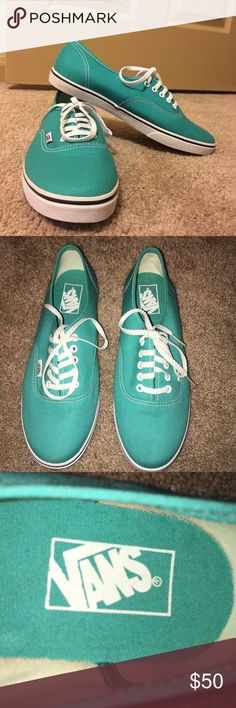 Teal Vans (In New Condition!!) Teal colored Vans that are in new condition, they are very comfortable and fun to wear. Pairs good with any outfit! They are a size 9 in women's and 7.5 size in mens Vans Shoes