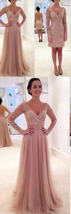 Prom Dresses Long, Long sleeve prom dresses, lace prom dresses, tulle prom dresses, pink prom dresses, sexy prom dresses, prom dresses 2017