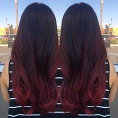 Raspberry balayage ombre by Michelle at Centennial Hills Aveda