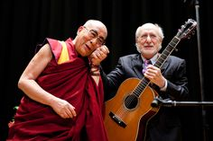 His Holiness the Dalai Lama with Peter Yarrow after he performed his song 'Never Give Up' at the Chiba Institute of Technology in Tsudanuma, Japan on November 13, 2013. Photo/OHHDL. http://www.youtube.com/watch?v=ft4FN9_13Yg #Dalai_Llama #Peter_Yarrow #Japan