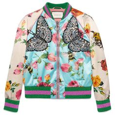 Gucci Rose Print Silk Bomber (£2,210) ❤ liked on Polyvore featuring outerwear, ready to wear, rose, women and gucci