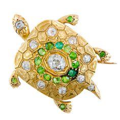 Victorian Demantoid Garnet Turtle Brooch at 1stdibs