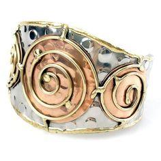 Handmade Copper Brass Swirls Silver Tone Wide Cuff Bracelet