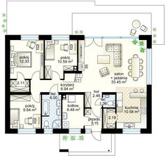 Projekt domu Zacisze IV 107.48 m² - Domowe Klimaty My Dream Home, House Plans, Decoration, Floor Plans, Construction, Flooring, How To Plan, Case, Modern