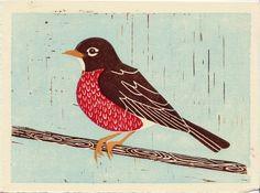 Spring Robin handpulled linocut block art print. $32.00, via Etsy.