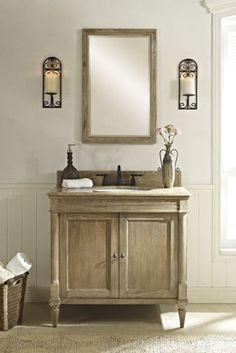 rustic chic powder room vanity