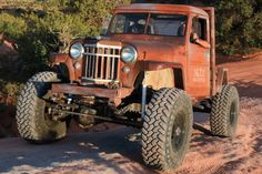 Check out a 1956 Willys Pickup named Jeepmater that blends into the red rocks of Moab, Utah. See what makes this rat rod style wheeler capable and stylish. Vintage Pickup Trucks, Old Trucks, Vintage Cars, Jeep Pickup, Jeep Truck, Jeep Rat Rod, Rat Rods, Willys Wagon, Overland Truck