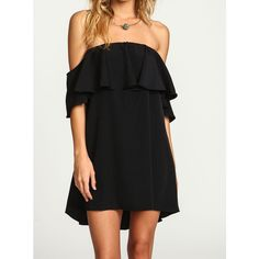 Black Boat Neck Ruffle Loose Dress ($16) ❤ liked on Polyvore