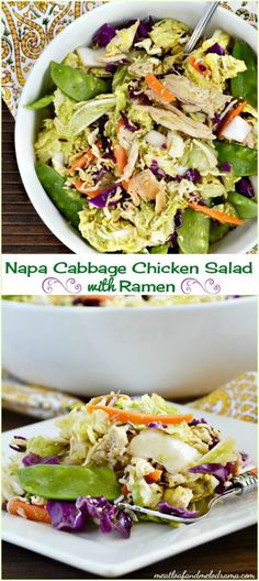 Napa cabbage chicken salad with ramen noodles. This easy summer dinner salad is loaded with crunchy ramen noodles and colorful veggies and topped with an Asian style dressing. It's perfect for potlucks and picnics too!
