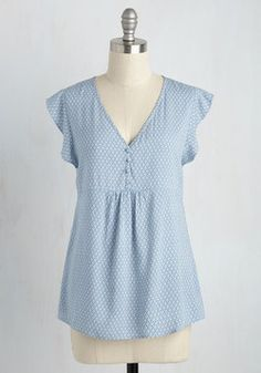 Nuanced Novella Top. Youve read your favorite story countless times, but by wearing this blue top, it feels new. #blue #modcloth