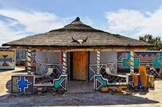Ndebele (An Ethnic Tribe of South Africa) house, South Africa. African Hut, Initial Wall Art, Kwazulu Natal, Architect House, Wall Art Designs, Inspired Homes, Art And Architecture, Organic Architecture, House Painting