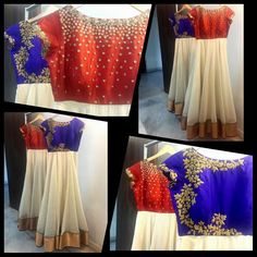 White floor length anarkalis. One with blue yoke and floral embroidery. Other with red yoke and starry work. Antique gold border. Mrunalini Rao.