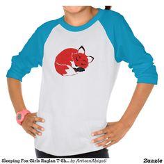 Sold! Thank you to the customer and enjoy! Sleeping Fox Girls Raglan T-Shirt; ArtisanAbigail at Zazzle