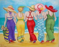 Solve Beach Girls Of Summer Redo? jigsaw puzzle online with 130 pieces Beach Friends, Art Impressions, Golden Girls, Beach Girls, Whimsical Art, Beach Art, Oeuvre D'art, Folk Art, Art Drawings