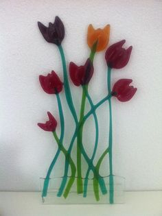 Glass fusing tulips made by Danielle