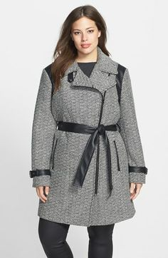Gallery Faux Leather Trim Belted Tweed Coat (Plus Size) available at #Nordstrom