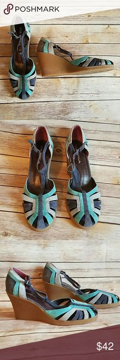 VIA SPIGA Suede GreyBlue T Strap Wedge Heels VIA SPIGA Suede GreyBlue T Strap Wedge Heels. Blue Green Grey Suede Strappy Heels.   Size 7 M Via Spiga Shoes Wedges