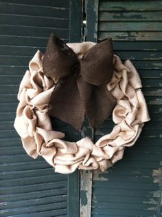 Burlap Wreath with Chocolate Brown Burlap Bow by TheNethouse, $31.50