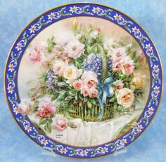 "Collector Plate #17787C ""Roses"" is the First Issue in the Lena Liu's Basket Bouquets Collection- Mint Condition by RichardsRarityRealm on Etsy"