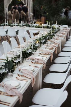 greenery / blush wedding table setting