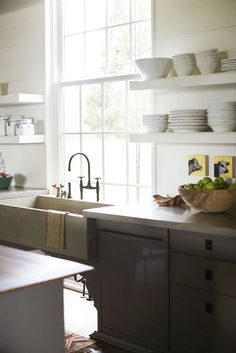 cement countertops, open shelves, grey cabinets...