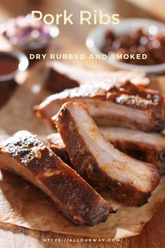 Delicious and tender dry rubbed pork ribs that are smoked to perfection. The meat is juicy with a spicy smoky taste. Eat them as is or slather them with your favorite sauce. The meat tastes so good it really doesn't need anything else. Pork Rib Dry Rub, Smoked Pork Ribs, Grilling Recipes, Pork Recipes, Cooking Recipes, Smoker Recipes, Best Ribs Recipe, Ribs Seasoning, Dessert Recipes