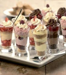 Little Parfait Desserts In Shot Glasses Cheesecake Chocolate