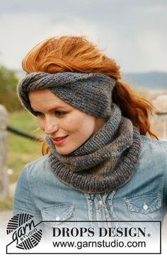 """Knitted DROPS head band and neck warmer in 2 strands """"Delight"""" and 1 strand """"Vivaldi"""". ~ DROPS Design"""