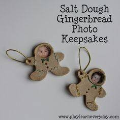 We made these adorable little gingerbread men salt dough keepsakes as Christmas decorations.
