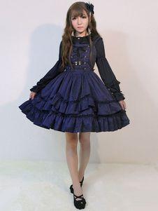 秋ジャカードの甘いロリータ ドレス JSK ささやきボー フリル編み上げジャンパー スカート