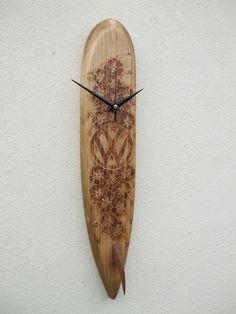 Surfboard Clock VW Volkswagen Logo With by OceanArtsNorthDevon